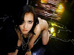 Horny Asian model is dancing a strip and showing her hairy pussy and nice tits