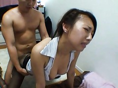 Mai Yuzuki Asian gets doggy drilling through nylon stockings