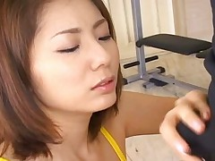 Yuma Asami licking her boyfriends cock through her swimsuit