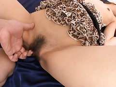 Yuzu Shiina sexy doll gets hairy pussy fingered before playing