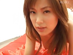 Yua Aida Asian in red dress and with big jugs fingered in peach