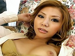 Horny Asian beauty gets her hairless pussy fingered hard by her date
