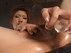 Asuka Sena is fucking her own pussy with a variety of dildos