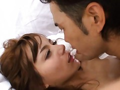 Rio Asian cupcake in white sheets is kissed and roughly fucked