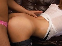 Miku Kohinata Asian with wet blouse and big boobs is doggy fucked