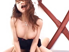 Akiho Yoshizawa rides this thick cock and lets him fuck her hard
