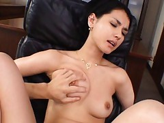 Maria Ozawa Asian tits pressed and vagina fucked with vibrator