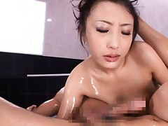 Japanese AV Model is oiled and pulled by hair while sucking tool