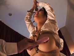 Sora Aoi Asian is all tied in ropes and with vibrator on hooters