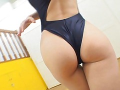 Saki Tsuji Asian with gym suit between ass cheeks kisses trainer