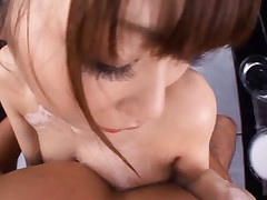 Japanese AV Model with soap on big boobs gets cock in bathroom
