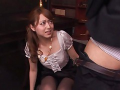 Akiho Yoshizawa sucking dong and having peach eaten in hot skirt