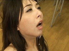 Yuka Osawa has cum dripping from her chin in this sex video