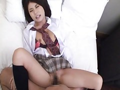 Aya Hirai takes a pounding while laying on her back
