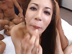 Japanese AV Model and two gals get cum in mouth after group fuck
