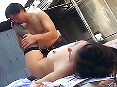 Japanese AV Models naughty Asian slut in stockings gets a pussy pounding