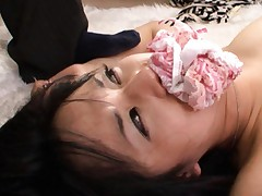 Sora Aoi Asian has thong in mouth while her slit is deeply nailed