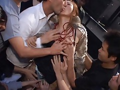 Chihiro Hara Asian is kissed and touched by a lot of horny dudes
