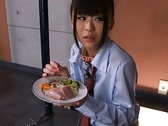 Chika Ishihara Asian has to eat a snack with fresh sperm on it