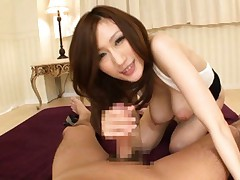 JULIA Asian doll with huge cans rides boner after she sucked it