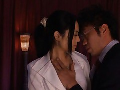 Sora Aoi Asian is kissed and fondled by dude over white dress
