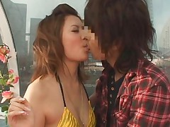 Maria Ozawa Asian kissing dude with other leering gal watching