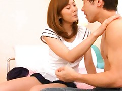 Yuma Asami Asian with very short skirt kisses fellow on chest