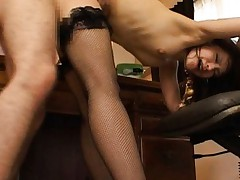 Nao Ayukawa Asian in fishnet stockings is screwed many positions