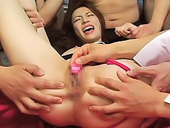 Anri Suzuki horny Asian slut loves fucking many cocks at a pussy pounding orgy