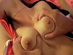 Asian beauty gets her tits fondled and licked and her ass groped