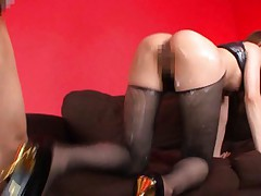 Akiho Yoshizawa gets sperm on her black nylon stockings doggy way