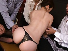 Maki Houjo Asian has erect nipples sucked by group of fellows