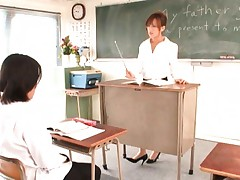 Rio Fujisaki as a sexy teacher in her white blouse and glasses