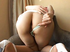 Hana Masaki Asian with high heels has cunt fingered from behind
