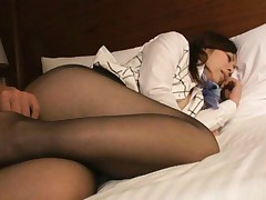 Kaede Himeki Asian is fucked with dildo in twat through stockings