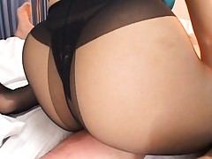 Reona Kanzaki Asian in nylon stockings and thongs sucks balls