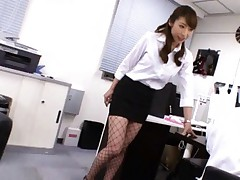 Mika Kayama Asian with short skirt fondles her boss at office
