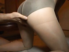 Mei Miura Asian has poonanie rubbed through hole in stockings