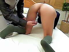 Japanese AV Model gets a ride on a hard cock and enjoys showing her titties