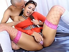 Naughty Asian model in fishnet stockings gets a hard pussy pounding