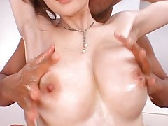 Erika Kirihara Asian has round chest and cunt fondled with oil
