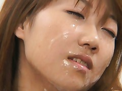 Japanese AV Model's face is covered in cum and she wants more