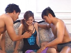 Suzuka Ishikawa in hot outfit fooling around with dudes in orgy