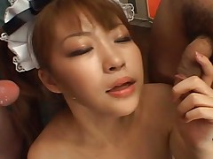 Japanese AV Model Hot maid sucks two cocks and gets sticky facial