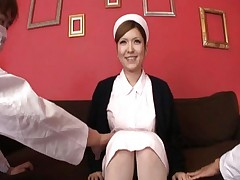 Riana Natsukawa as a naughty nurse in uniform and pantyhose