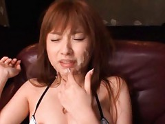 Kokomi Naruse Asian has all of her pretty face covered with sperm