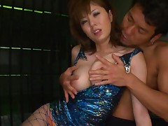 Yuma Asami Asian in blue dress and fishnet stockings is fondled