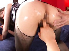 Akiho Yoshizawa with wet ass is fingered through nylon stockings