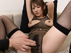 Reon Otowa Asian in fishnet body and stockings gets vibrations