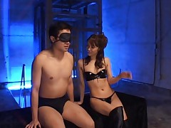 Mihiro Asian whore in black leather outfit teases man like crazy